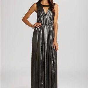 BCBGeneration Silver Metallic Maxi Dress